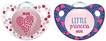 NUK Trend Line de silicona Chupete, kiefergerechte Forma, sin BPA, 2 unidades) rosa/grün Talla:18-36 meses