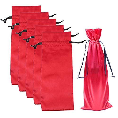 10pcs Satin Red Wine Bags with Drawstrings,Perfect for Travel, Wedding, Birthday, Housewarming and Dinner Party Gift Giving(15