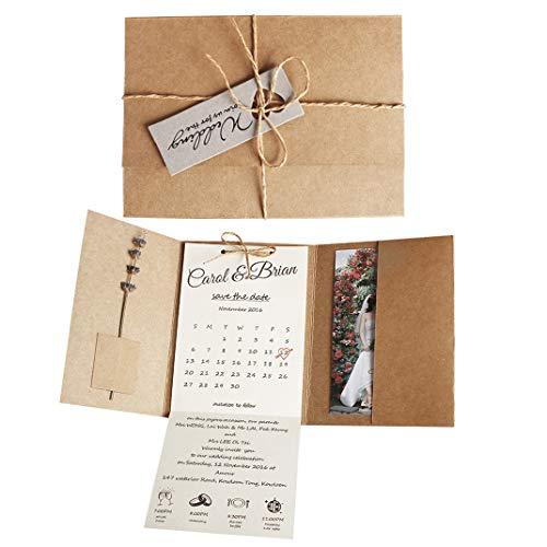 - Kraft Pocket Wedding Invitations, Rustic Wedding Invites Sample Photo Invitations
