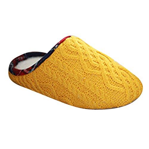 Pantoufles semelle de souple Yonglan intérieure anti Femme GB Yellow épaissi tricotées chaussures maison coton dérapant à Pantoufles POPdqE7w