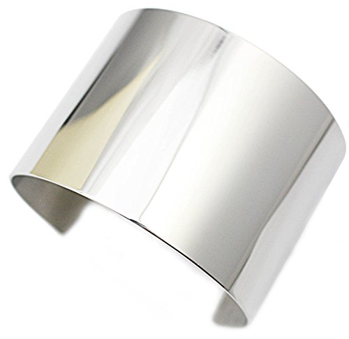 COUYA Punk Stainless Steel Wide Blank Shiny Cuff Bangle Bracelet for Women Ladies