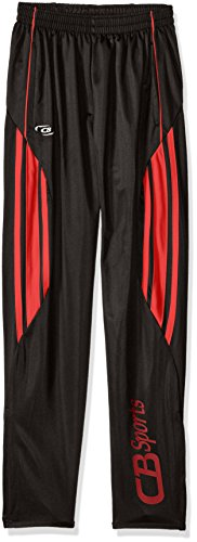 CB Sports Big Boys' Active Performance Tricot Soccer Pant, UU48-Black/Red, 10/12 (Boys Active Pants)