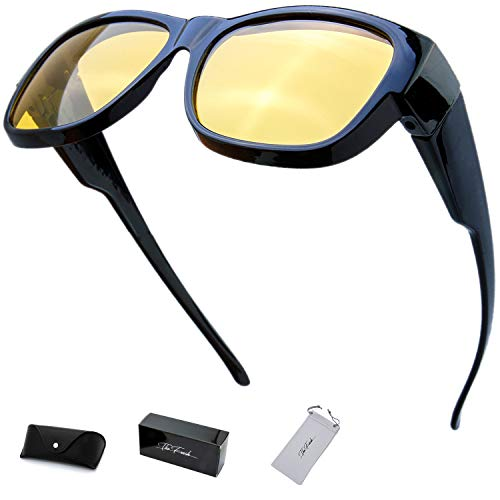 The Fresh High Definition Polarized Wrap Around Shield Sunglasses for Prescription Glasses - Gift Box Package (207N-Shiny Black, Yellow Night Vision Driving)