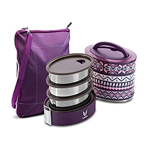 Vaya Tyffyn Steel stainless Lunch Box with Bagmat, 1000 ml, 3 Containers, Purple