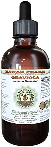 Graviola Alcohol-Free Liquid Extract, Graviola Annona Muricata Dried Leaf Glycerite Hawaii Pharm Natural Herbal Supplement 4 oz
