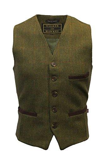 Walker and Hawkes Men's Tweed Waistcoat Formal Teflon Dress Gilet Large Dark ()