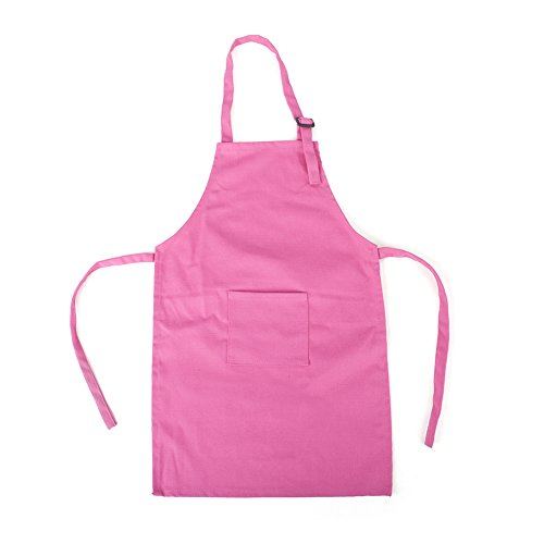 Opromo Colorful Cotton Canvas Kids Aprons with Pocket, Artist Apron & Chef Apron(S-XXL)-Hot Pink-L by Opromo (Image #9)