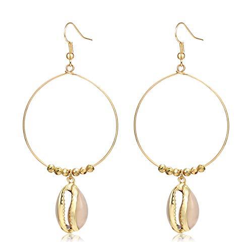 - CEALXHENY Shell Hoop Earrings for Women Cowrie Dangle Earrings Shell Jewelry (A Shell)