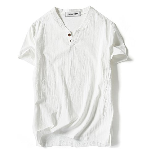 LOCALMODE Men Linen and Cotton V Neck Short Sleeve T Shirts Casual Tee White L