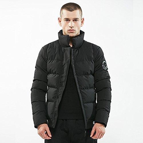 Hgfjn Watte gepolsterten verhafteten männer männer Mode Freizeitkleidung kurz warm,schwarz,XL
