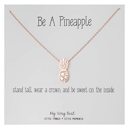 - My Very Best Dainty Pineapple Necklace Be A Pineapple_Stand Tall. wear a Crown, and be Sweet on The Inside. (Rose Gold Plated Brass)