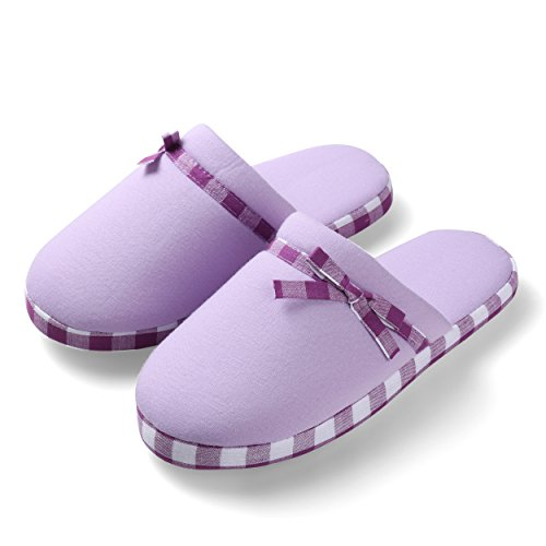 Purple Aerusi's Women's Slide Home Cute Soft Lounging Lazy ONS Light Lilac Slip Warm Checker Slippers wrwSqf