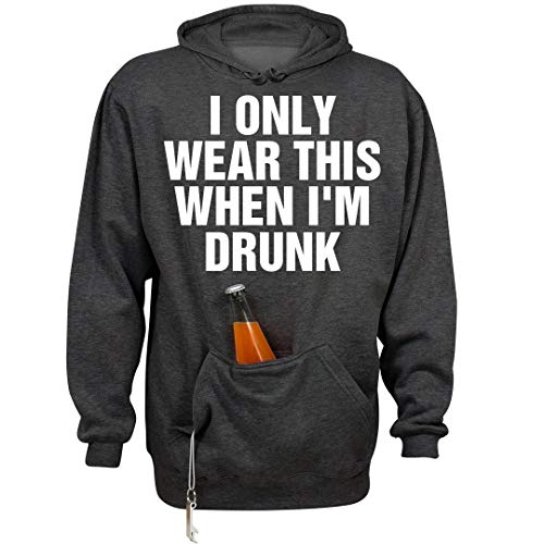 FUNNYSHIRTS.ORG My Drinking Hoodie: Unisex Beer Holder Tailgate Hoodie Charcoal Heather ()