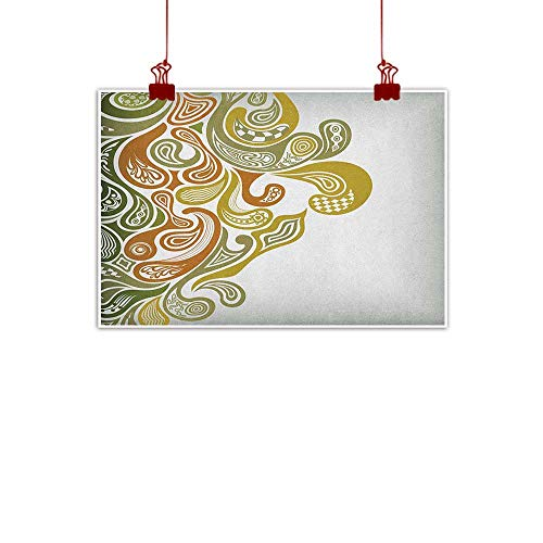 - Anyangeight Artwork Office Home Decoration Earth Tones,Classical Scroll Pattern with a Modern Approach Swirled Leaf Figures, Khaki Green Cinnamon 24