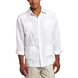 Cubavera Men's Long Sleeve Embroidered Guayabera Shirt, Bright White, Medium