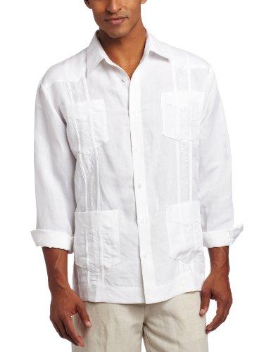(Cubavera Men's Long Sleeve Embroidered Guayabera Shirt, Bright White, X-Large)