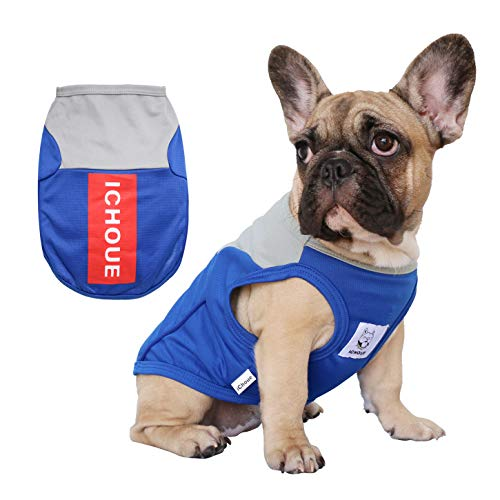 iChoue Pet Dog Vest Shirts Sports Clothing for French Bulldog Pug Boston Terrier Puppy Soft Sweatshirt Tank Top - S Blue - Terrier Puppies Bull