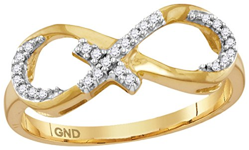 0.1 Cttw. Jewels By Lux 10kt Yellow Gold Womens Round Diamond Infinity Cross Band Ring 1/10 Cttw (I2 I3 clarity; J K color)