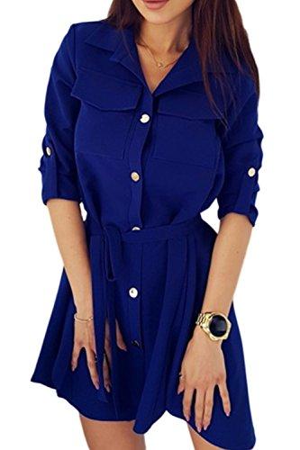 La Solo Azul Abajo Cinturón Boton Trabajo Mujer Breasted Blusa Casual Con Vestido rwFpOqr