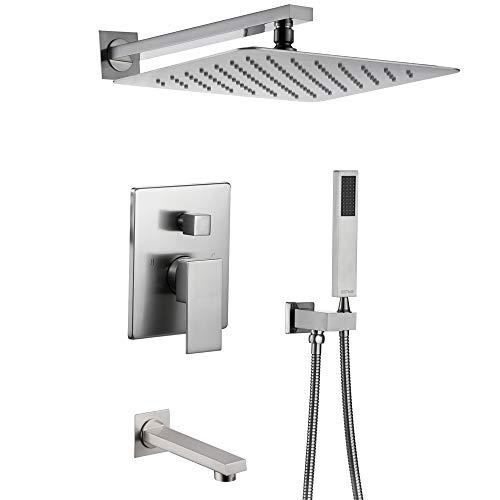 (Esnbia Shower System, Brushed Nickel Shower Faucet Set with Tub Spout and 10