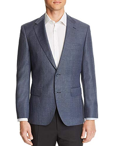 Hugo Boss Mens Regular Fit Jewels Hopsock-Weave Wool Sportcoat 44R Blue