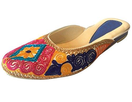 Step N Style Punjabi Jutti Infradito Khussa Scarpe Casual Mojari Salwar Kameez Scarpe Multicolore