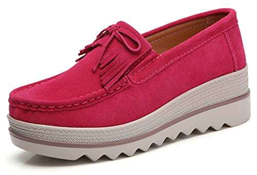 red Wedges Shoes for Women Women's Platform Shoes Suede Cow Leather Slip On Loafers Fashion Sneakers (37, Roesred 2017-1)