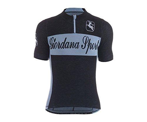 Giordana Sport Men's Classic Performance Wool Cycling Jersey 2015, Black/Blue, Large/X-Large