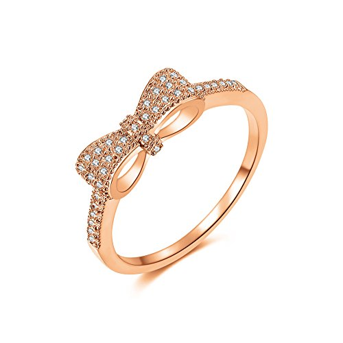 DIFINES Fashion Cute Bow Knot CZ 18k Rose Gold Plated Eternity Band Engagement Promise Rings for Girls Women, Size 6 (Class Rings For Girls)