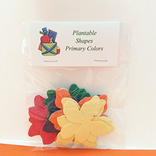 24 Plantable Primary Colored Flower Shapes in a Bag (Cards Wildflower Seed)
