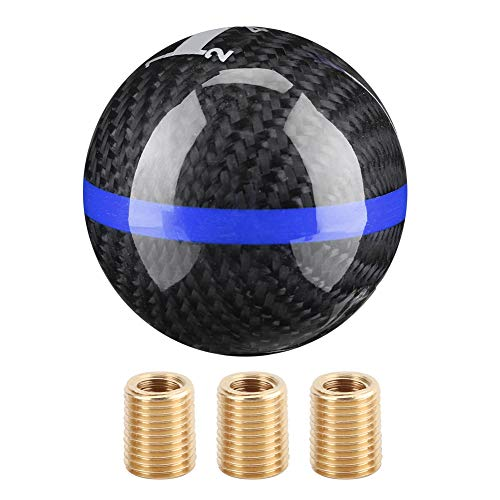Aramox Gear Shift Knob, Car Universal Manual Carbon Fiber Knob Gear Shift Head Shifter Black 6 Speed (black with blue line)