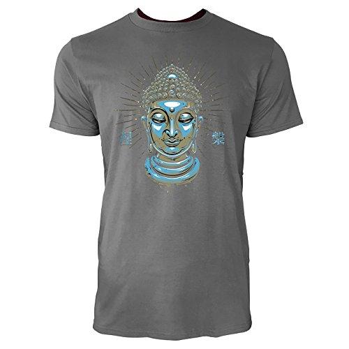SINUS ART ® Buddha mit japanischen Schriftzeichen Nirvana Herren T-Shirts in Grau Charocoal Fun Shirt mit tollen Aufdruck
