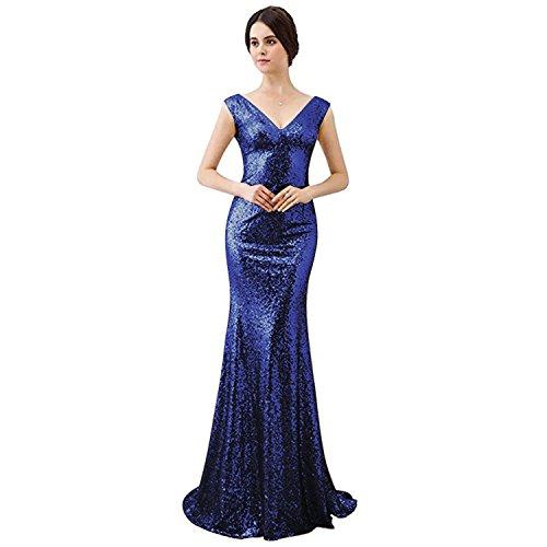 V Brautjungfer Silber Dame prickelnde Langes fur Party mit Aiyana Prom Königsblau kleid Abendkleid Ausschnitt RTnIxCqw