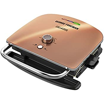George Foreman Grill & Broil, 4-in-1 Electric Indoor Grill, Broiler, Panini Press, and Top Melter, Copper, GRBV5130CUX