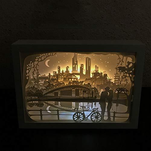 EFGS Paper-Cut Light Box, Remote Control 3D Paper Carving Light Three-Dimensional Creativity Shadow Night Lights Romantic Atmosphere Halloween Christmas