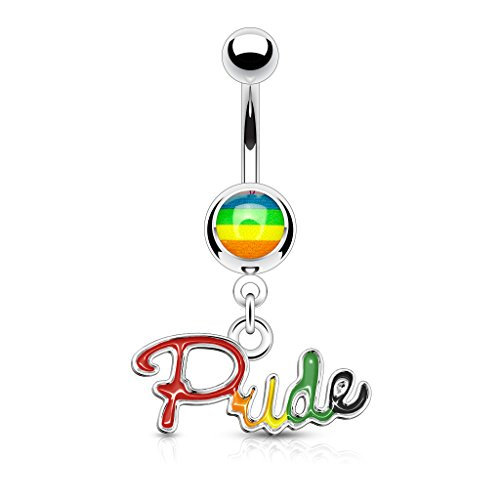 Pierced Owl Rainbow Gay Pride Dangling Belly Button Ring