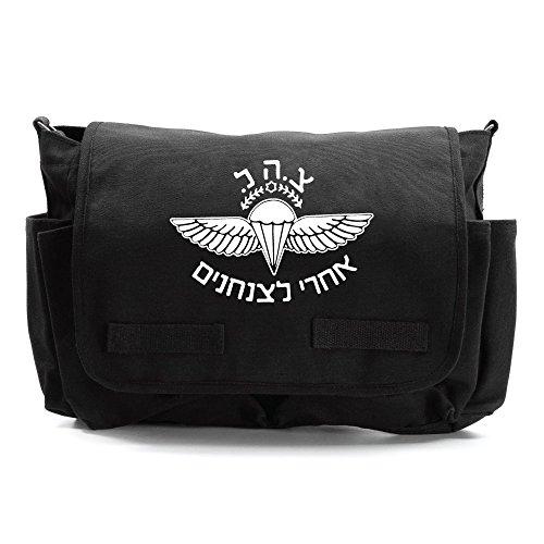 ISRAELI Paratrooper Army Canvas Messenger Shoulder Bag in Black & White ()