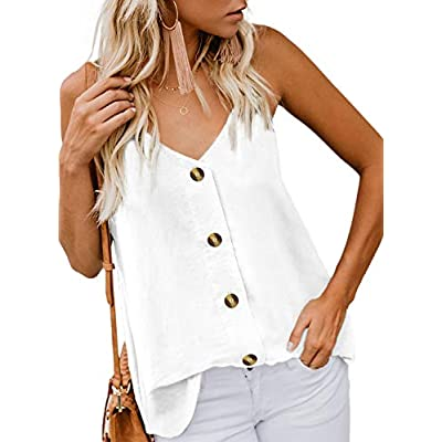 BLENCOT Women's Button Down V Neck Strappy Tank Tops Loose Casual Sleeveless Shirts Blouses at Women's Clothing store