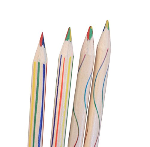 4in 1 Colour - Colored Pencils, Yalasga 10pcs Rainbow Color Pencil 4 in 1 For Drawing Stationery