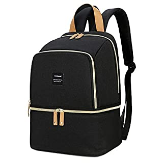 Breast Pump Bag Backpack - Cooler and Moistureproof Bag Double Layer for Mother Outdoor Working Backpack, Fit Most Size Breast Pump Large (Black)