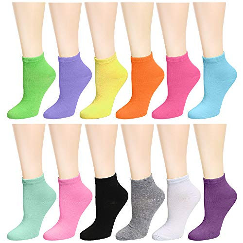 12-Pack Women's Ankle Socks Assorted Colors Size 9-11 (12 Colors)