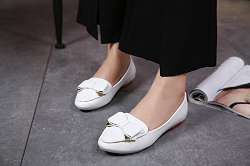 Raso Trabajo Zapatos Mujer Ocio 35 White Bow Partido Únicos Ronda Pu Comfort Flats Tie Negro Blanco Boca Artificial 3 Cabeza Otoño Nvxie Bombas Soft Invierno De Bottom Eur Primavera eur38uk55 Nuevo uk OdEwd4q