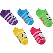 Hello Kitty Big Girls' No Show Ankle Socks 5 Pack