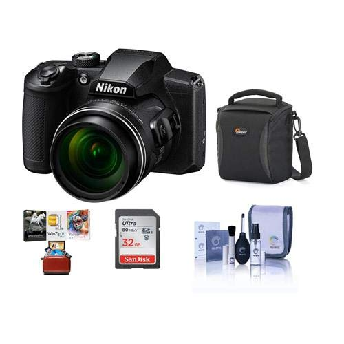 Nikon COOLPIX B600 16MP Compact Digital Point & Shoot Camera, 60x Optical Zoom, Black – Bundle with 32GB SDHC Card, Camera Case, Cleaning Kit, Mac Software Package
