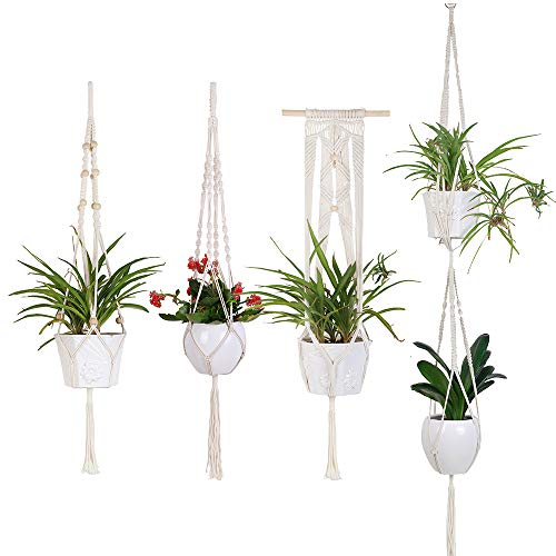 YXMYH Macrame Plant Hangers - 4 Pack Hanging Planter in Different Designs - Handmade Indoor Wall Hanging Planter Plant Holder - Modern Boho Home Decor