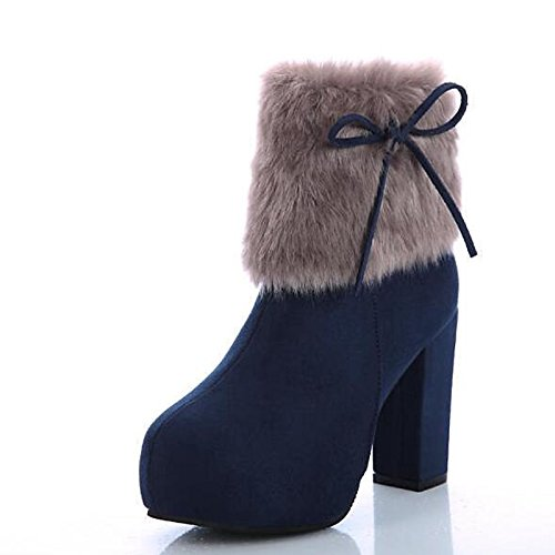 HSXZ Boots Toe ZHZNVX Fall Walking Women's Combat Round Nubuck Feather Booties Spring Ankle Blue Comfort Boots leather Shoes Boots Shoes Chunky Heel Cwxda4qSHx