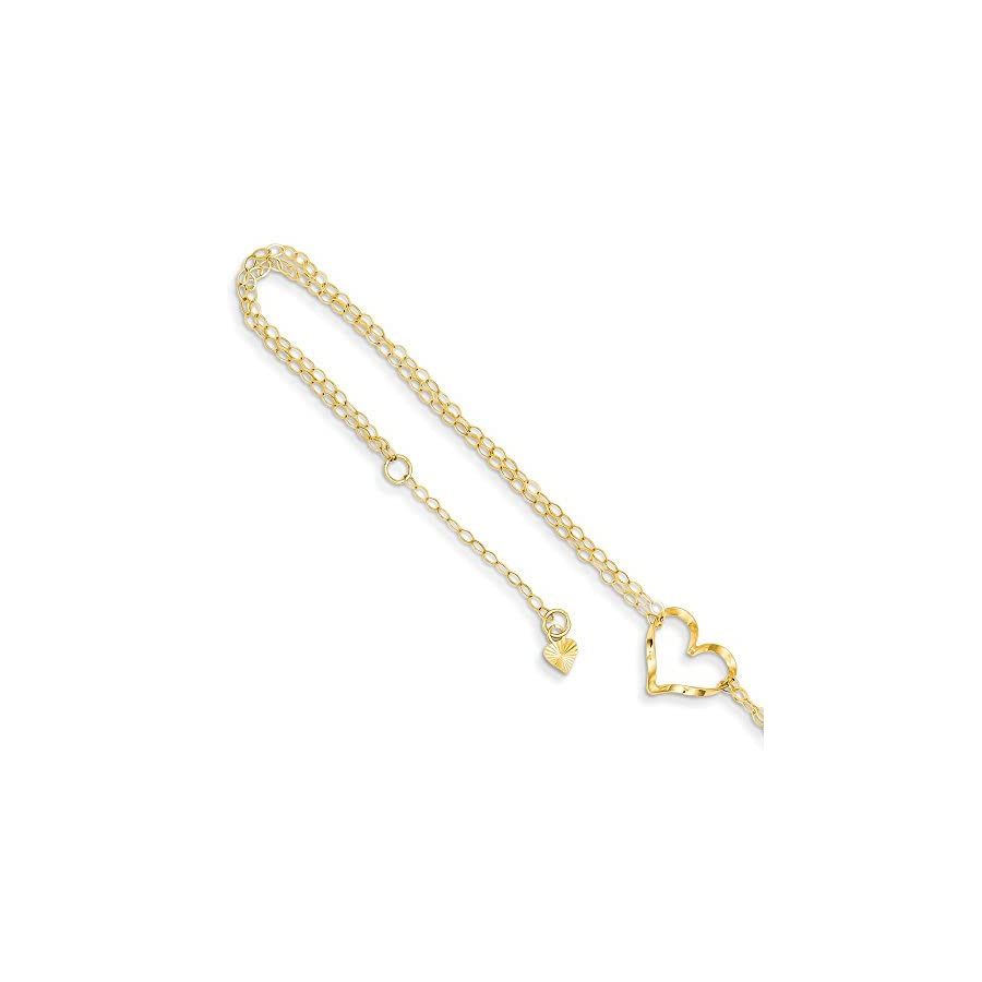 14k Yellow Gold Double Strand Heart 9 10 Adjustable Chain Plus Size Extender Anklet Ankle Beach Bracelet Fine Jewelry For Women Gift Set