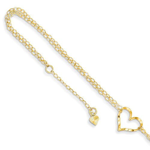 14k Yellow Gold Double Strand Heart 9 10 Adjustable Chain Plus Size Extender Anklet Ankle Beach Bracelet Fine Jewelry Gifts For Women For Her ()