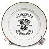 3dRose Alexis Design - Vintage - Image of a Powerful auto Engine. Born to Ride, Tuned for Speed - 8 inch Porcelain Plate (cp_292299_1)