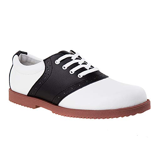 Academie Gear Honor Roll Saddle Shoe (Toddler/Little Kid/Big Kid),White/Black,3 M US Little Kid]()